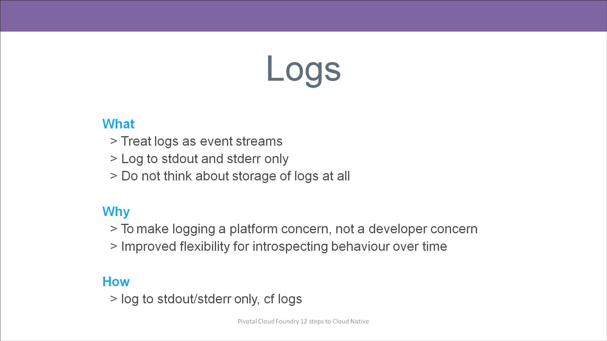 12 Factors to build Cloud Native Applications - Logs